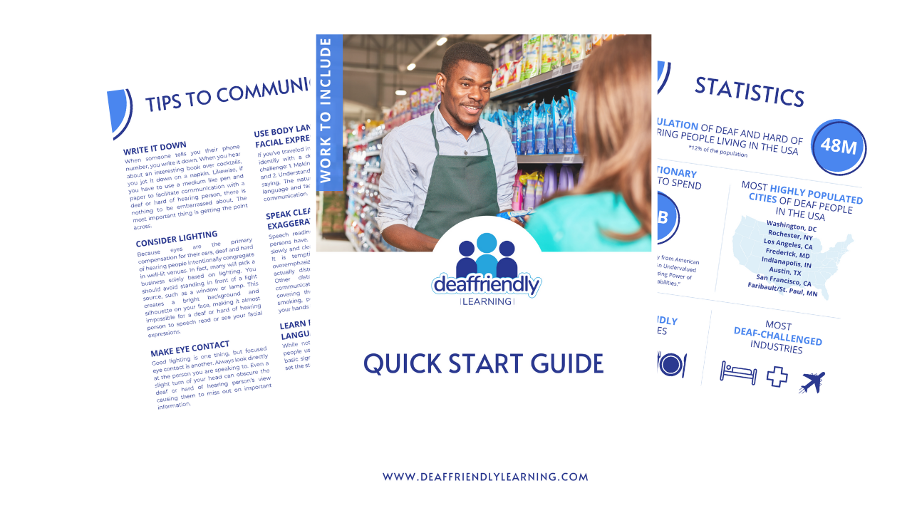 Three one-pagers layereed on top of one another. The top one clearly visible reads QUICK START GUIDE and shows a black male grocrery worker helping a white female customer.